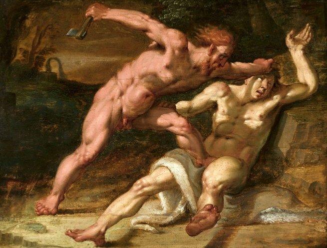 Caim e Abel lutando