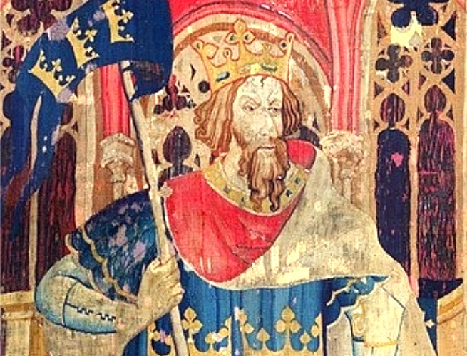 Rei Arthur retratada em uma tapeçaria do século XIV