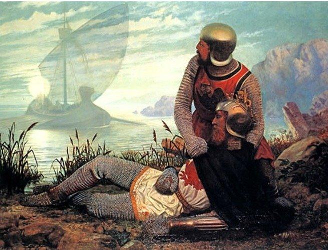 Reprodução do quadro The Death of King Arthur - John Garrick, 1862