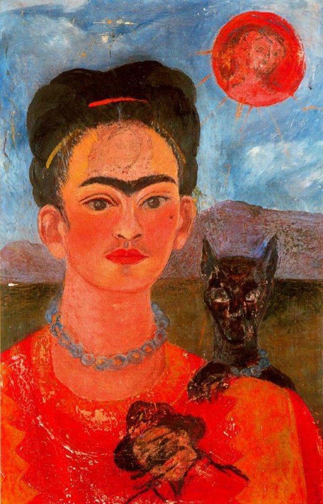 Auto-retrato com o retrato de Diego no peito e Maria entre as sobrancelhas, 1954