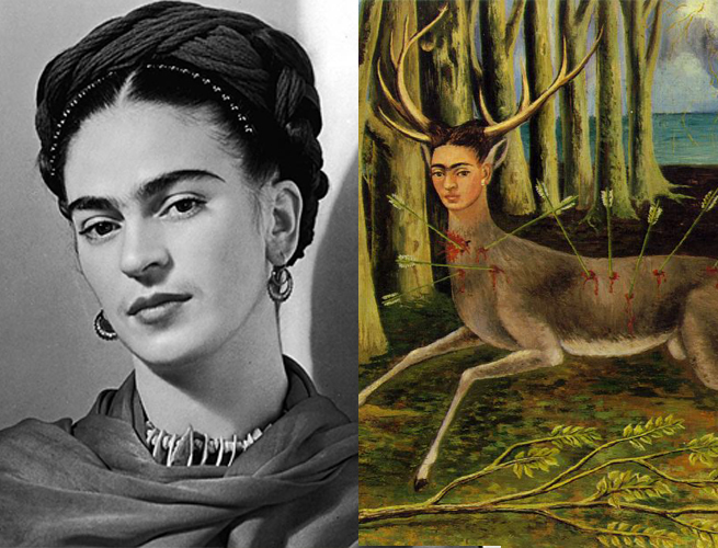 Frida Kahlo e parte da obra O veado ferido