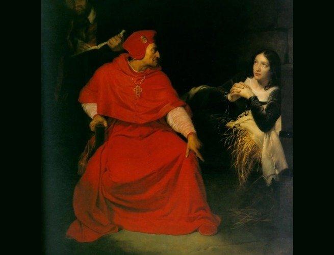 Joana dArc sendo interrogada na prisão. Pintura de Paul Delaroche (1797-1856)