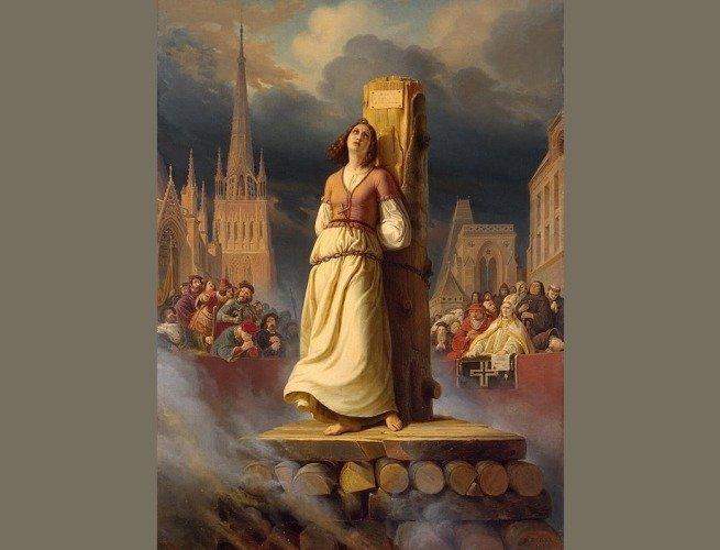 Morte de Joana Darc na estaca, por Hermann Anton Stilke (1843)