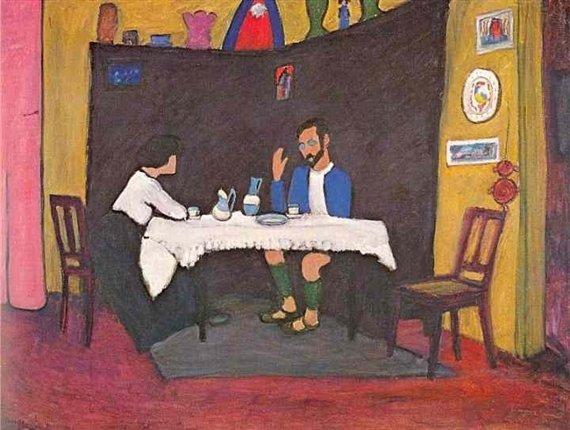 Kandinsky e Erma Bossi na mesa da casa Murnau