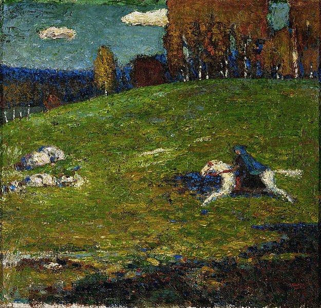 Tela O cavaleiro azul (1903), de Kandinsky