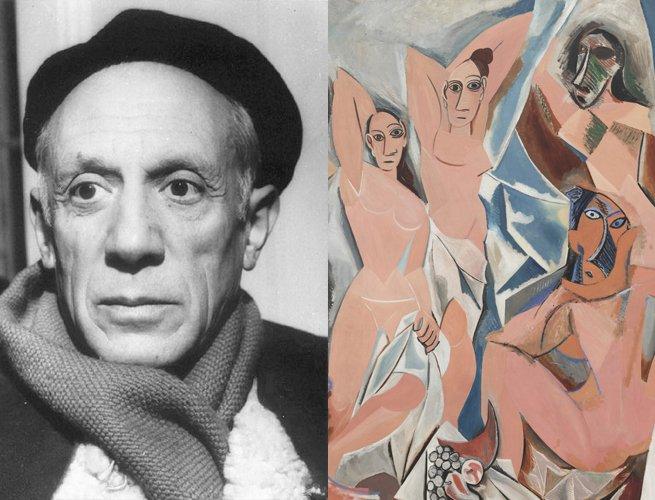 Pablo Picasso e parte da obra Les Demoiselles dAvignon