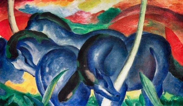 Quadro Os grandes cavalos (1911), de Franz Marc