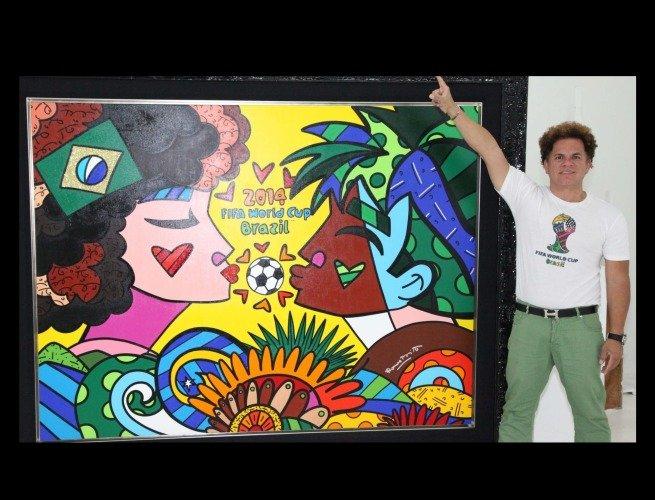Romero Britto e seu painel criado para a Copa do Mundo de 2014 (Brasil)