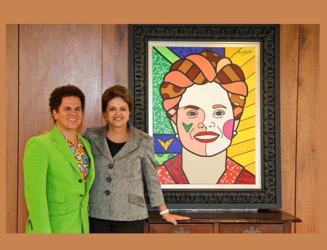 Em visita à ex-presidente Dilma Rousseff, para entrega do quadro