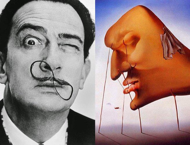 Salvador Dalí e parte da obra O sono