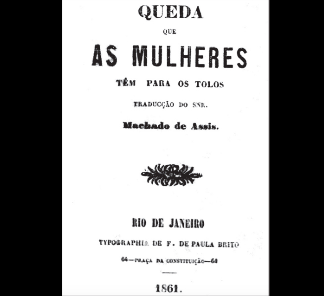 A primeira vez que o nome de Machado apareceu na capa de um livro foi como tradutor. Acima a edição original de 1861