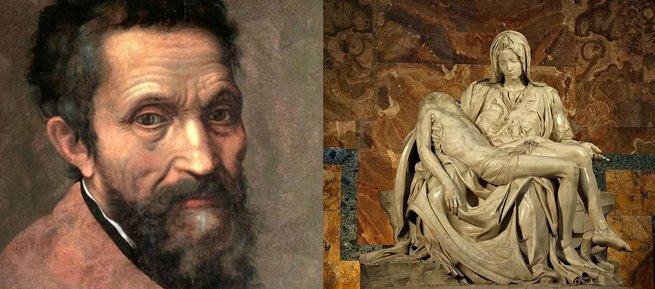 Michalangelo e sua escultura Pietá.